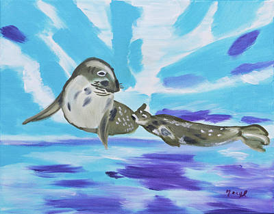 Painting - Weddell Seals Underneath Ice by Meryl Goudey