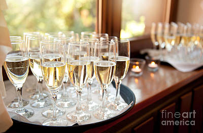 Banquet Photograph - Wedding Banquet Champagne Glasses by Arletta Cwalina