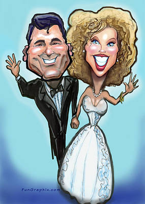 Humor Painting - Wedding Cake Dolls by Kevin Middleton