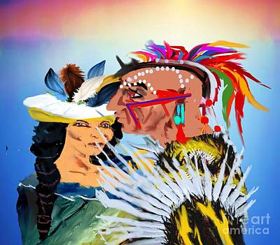 Painting - Wedding Ceremonial Native American Indian by Belinda Threeths