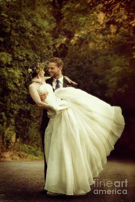 Country Lanes Photograph - Wedding Couple by Amanda Elwell