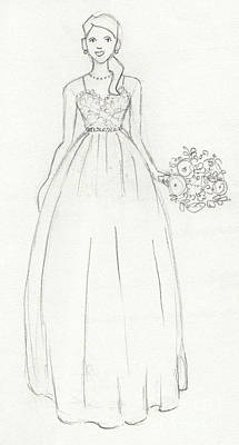 Red Gown Drawing - Wedding Dress by Kristy Lankford