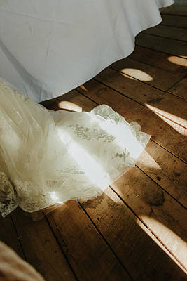 Photograph - Wedding Dress With Filtered Sunlight by Amber Flowers