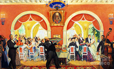 Black Tie Painting - Wedding Feast, 1917 by Boris Mikhailovich Kustodiev