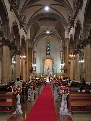 Wedding In Manila Cathedral Art Print by Mike Holloway