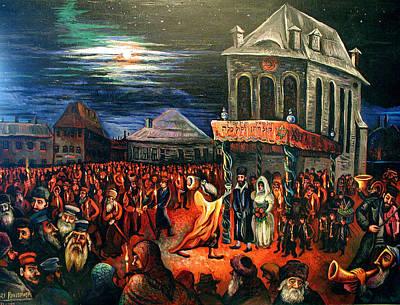 Roussimoff Wall Art - Painting - Wedding Under The Stars, Judaica by Ari Roussimoff