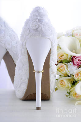 Floral Engagement Ring Photograph - Wedding Ring On Beautiful White Stiletto Shoe Heel.  by Milleflore Images