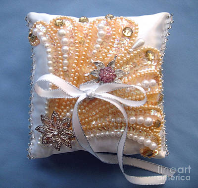 Beadwork Mixed Media - Wedding Ring Pillow. Handwork 07 by Sofia Metal Queen