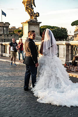 Photograph - Wedding Stroll On The Ponte Sant'angelo by Joseph Yarbrough