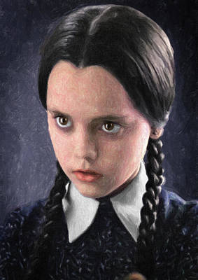 Painting - Wednesday Addams by Taylan Apukovska