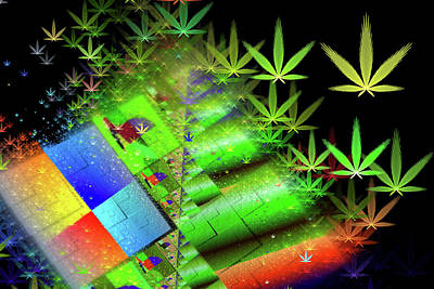 Weed Digital Art - Weed Art - Colorful Cannabis Dreams by Matthias Hauser
