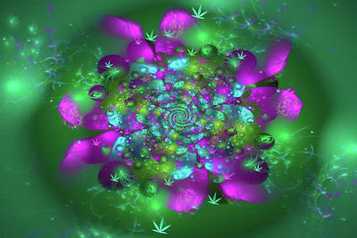 Digital Art - Weed Art Colorful Marijuana Flower Purple Orchid Green by Matthias Hauser