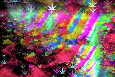 Digital Art - Weed Art - Colorful Pattern With Marijuana Symbols by Matthias Hauser