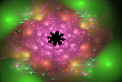 Weed Digital Art - Weed Art Fractal Cannabis Flower Pink And Green by Matthias Hauser
