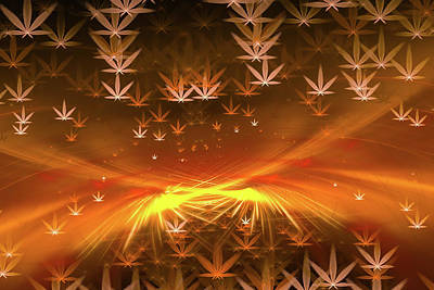Weed Digital Art - Weed Art - Golden Marijuana Heaven by Matthias Hauser