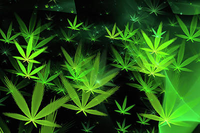 Weed Digital Art - Weed Art - Green Cannabis Symbols Flying Around by Matthias Hauser