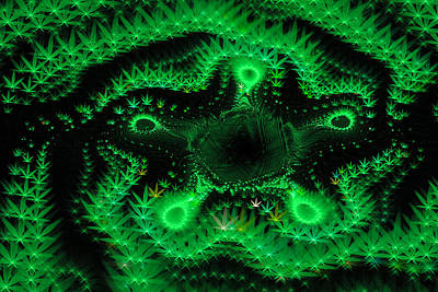 Weed Digital Art - Weed Art - Green Fractal Cannabis by Matthias Hauser