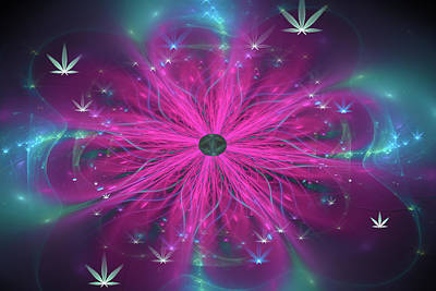 Digital Art - Weed Art Purple And Blue Fractal Cannabis Flower by Matthias Hauser