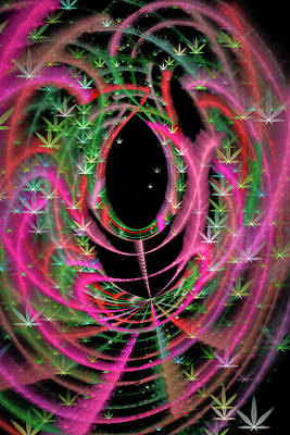 Digital Art - Weed Art Red Pink Green Marijuana Symbols by Matthias Hauser