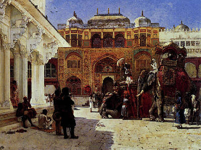 Weeks Edwin Arrival Of Prince Humbert The Rajah At The Palace Of Amber Art Print