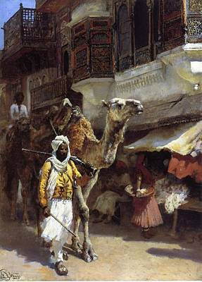 Camel Painting - Weeks Edwin Lord Man Leading A Camel by Eastern Accent
