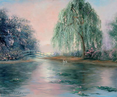 Swans Sunset Painting - Weeping Pond by Sally Seago