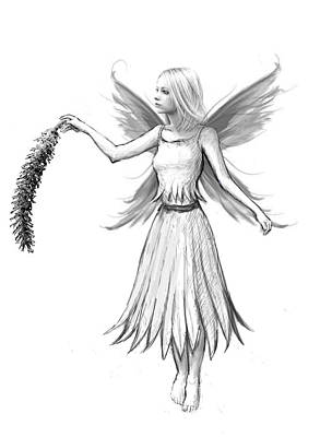 Weeping Willow Fairy With Catkin B And W Art Print