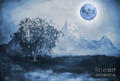 Snowy Trees Mixed Media - Weeping Willow by KaFra Art