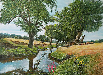 Painting - Weeping Willows At Beverley Brook by Arie Van der Wijst