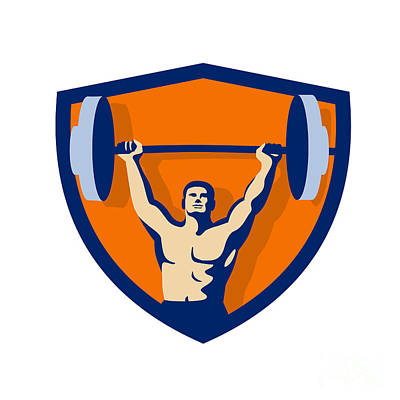 Weightlifter Lifting Barbell Crest Retro Art Print
