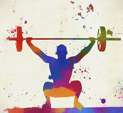 Painting - Weightlifter Paint Splatter by Dan Sproul