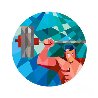 Weightlifter Snatch Grab Lifting Barbell Low Polygon Art Print