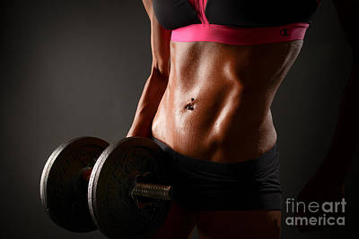 Female Bodybuilder Photograph - Weights And Abs by Jt PhotoDesign