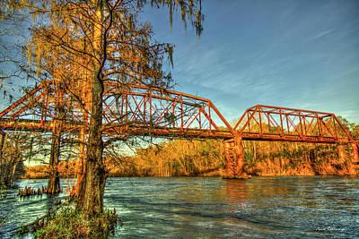 Photograph - Weighty Task Norfolk Southern Trestle Bridge Sunset Art by Reid Callaway