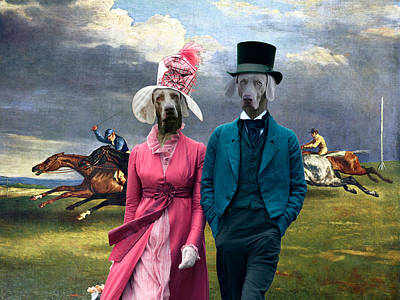 Painting - Weimaraner Art Canvas Print - Derby In Epsom by Sandra Sij
