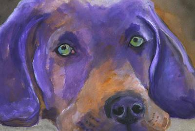 Weimaraner Dog Art Art Print by Mary Jo Zorad