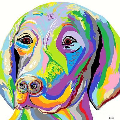 Puppy Love Painting - Weimaraner by Eloise Schneider