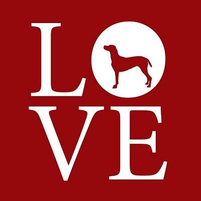 Puppies Digital Art - Weimaraner Love Red by Nancy Ingersoll