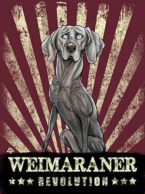 Weimaraner Drawing - Weimaraner Revolution by John LaFree