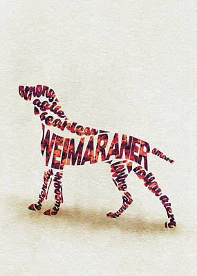 Weimaraner Painting - Weimaraner Watercolor Painting / Typographic Art by Inspirowl Design