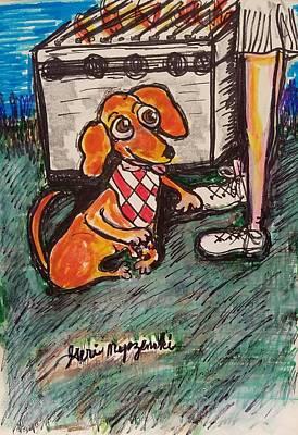 Dachshund Art Drawing - Weiner Dog Barbeque by Geraldine Myszenski