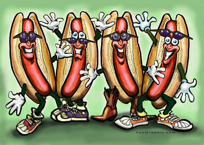 Hot Dogs Digital Art - Weiner Party by Kevin Middleton
