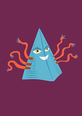 Digital Art - Weird Blue Pyramid Character With Tentacles by Boriana Giormova
