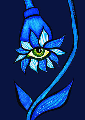 Drawing - Weird Blue Staring Creepy Eye Flower by Boriana Giormova