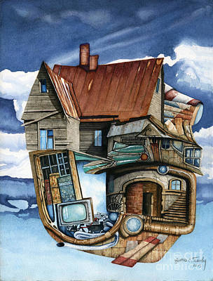 Abandoned Houses Painting - Weird Steampunk House by James Stanley