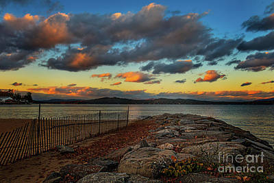 Photograph - Weirs Beach Jetty At Dusk by Mim White