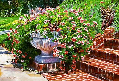Floral Still Life Painting - Welcome Flower Urn Steps by David Lloyd Glover