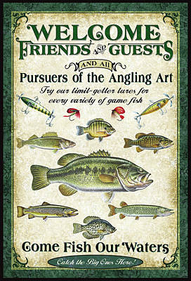 Fishing Painting - Welcome Friends Sign by JQ Licensing
