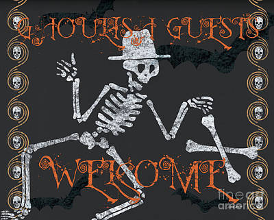 Welcome Ghoulish Guests Art Print by Debbie DeWitt