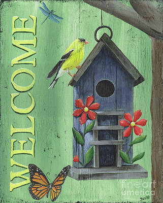 Dragonfly Painting - Welcome Goldfinch by Debbie DeWitt